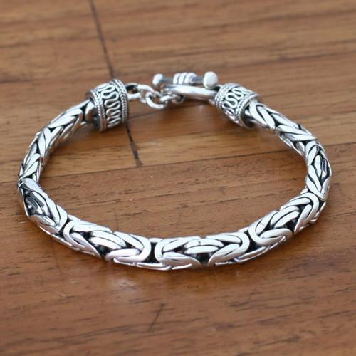 Men's Sterling Silver Bracelet 'Silver Dragon'