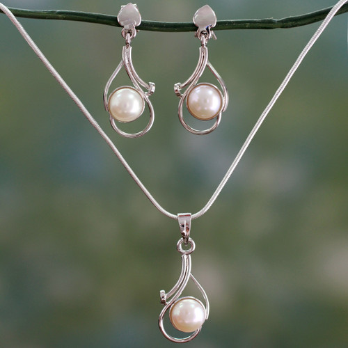 Bridal Pearl Jewelry Set Sterling Silver Necklace Earrings 'Lunar Magic'