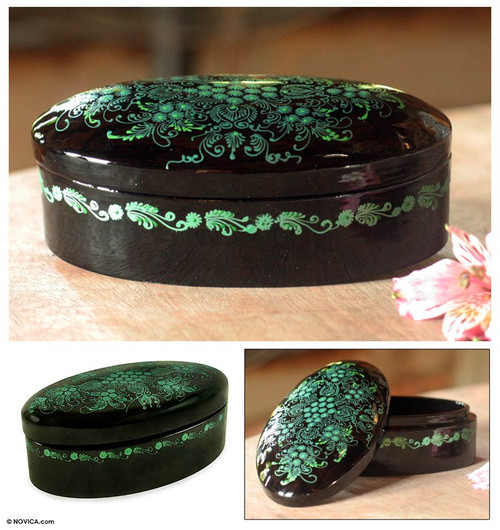 Hand Crafted Mango Wood Decorative Box 'Emerald Blossoms'