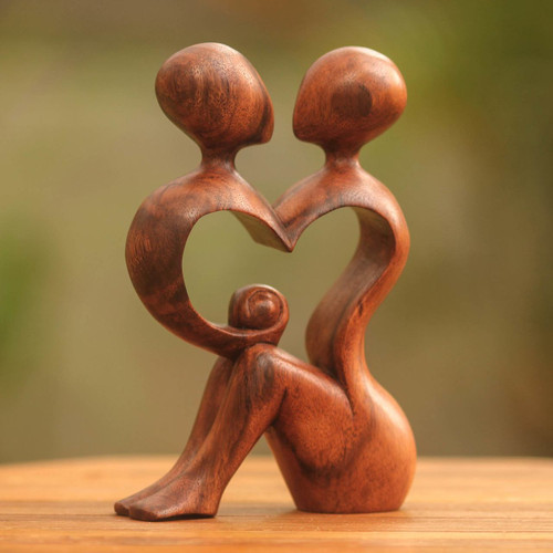 Romantic Wood Sculpture 'A Heart Shared by Two'
