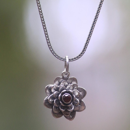 Floral Sterling Silver Garnet Pendant Necklace 'Sacred Red Lotus'