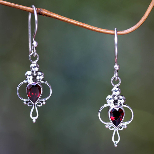 Garnet Sterling Silver Dangle Earrings 'Crimson Tears'