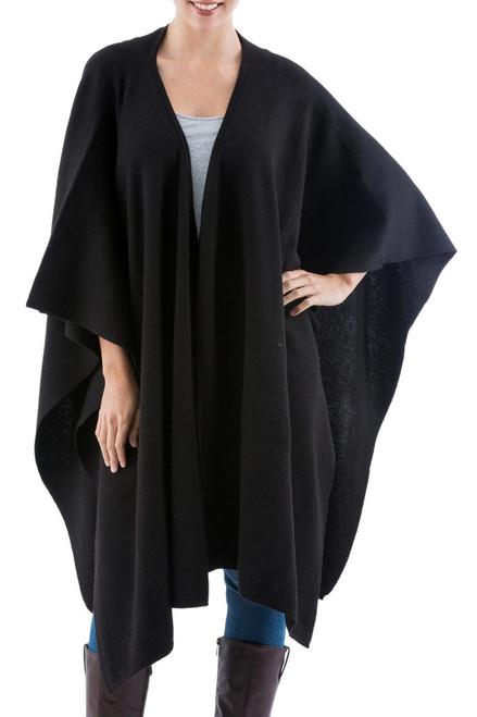 Alpaca Wool Solid Shawl in Black 'Versatile Black'