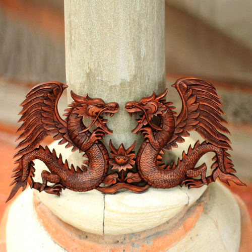 Handmade Wood Relief Panel from Indonesia 'Winged Dragons'