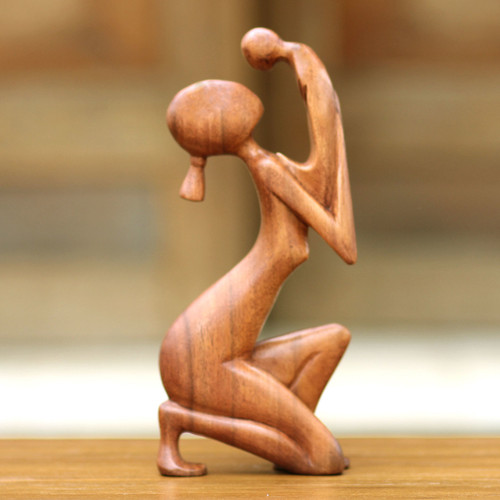 Hand Crafted Mother and Child Sculpture 'Moment of Tenderness'