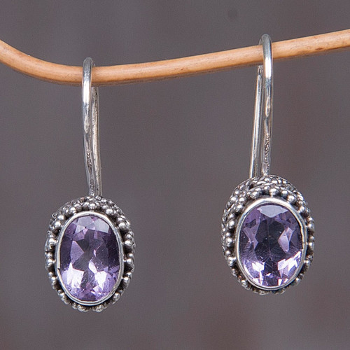 Sterling Silver Amethyst Drop Earrings 'Purple Spell'