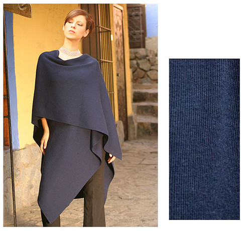 Alpaca Wool Solid Blue Shawl Wrap 'Versatile Blue'