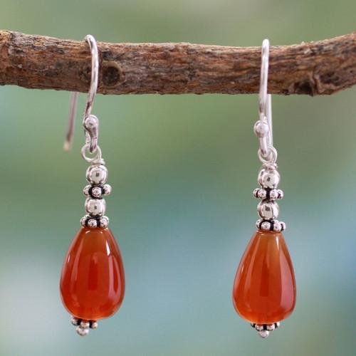 Carnelian dangle earrings 'Fire'