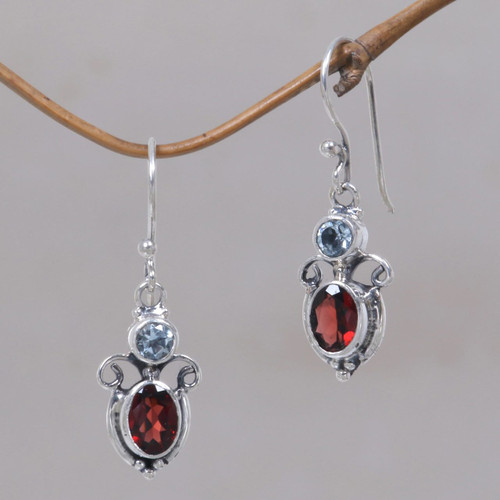 Garnet Sterling Silver Dangle Earrings 'Fire and Ice'