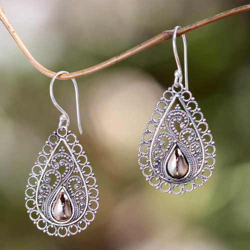 Silver Lace Earrings with 18k Gold 'Silver Lace'