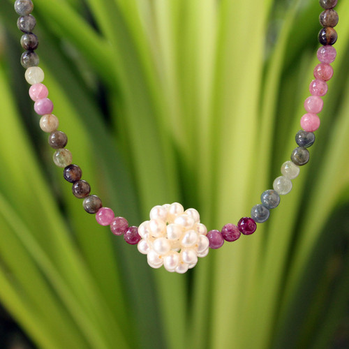 Beaded Tourmaline and Pearl Necklace 'Ivory Chrysanthemum'