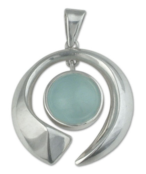 Fair Trade Modern Fine Silver Aquamarine Pendant 'Sea Wave'
