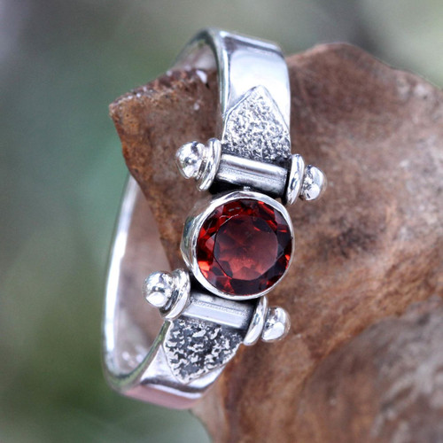 Modern Sterling Silver Garnet Ring 'Mystical Eye'