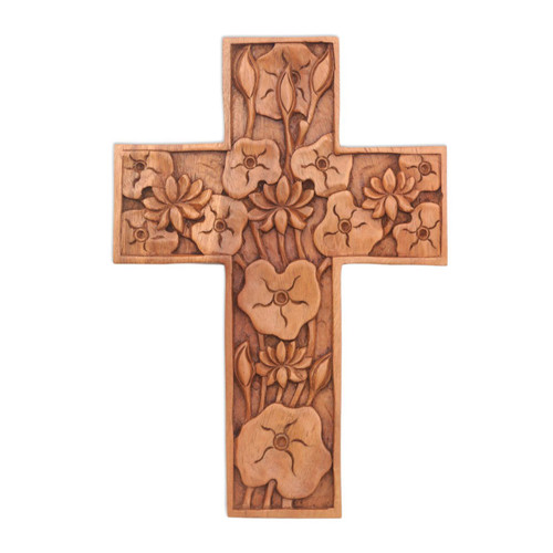 Hand Carved Wood Wall Cross 'Lotus Blossoms'