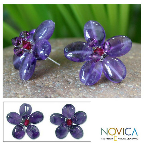 Hand Crafted Beaded Amethyst Earrings 'Peace Flower'