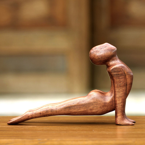 Original Wood Sculpture 'Yoga Cobra Pose'