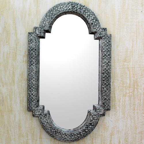 Repousse Brass Nickel Mirror Wall Artisan Crafted 'Palace Window'