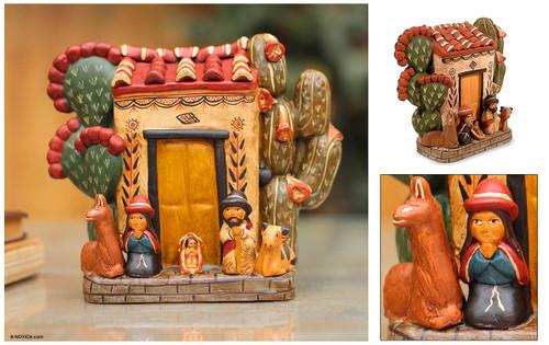 Ceramic nativity scene 'Christmas at Home'
