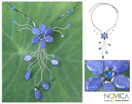 Hand Crafted Thai Floral Lapis Lazuli Necklace 'Jungle Blossom'