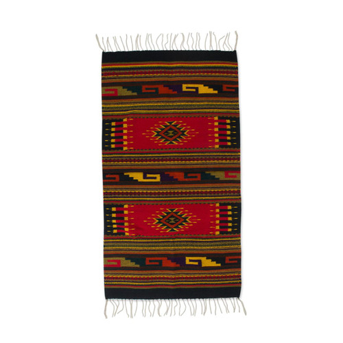 Zapotec Wool Area Rug  'Ancestral Red'