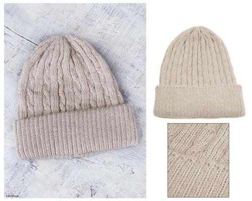 Unique Womens Alpaca Wool Solid Knit Hat 'Tan Mountain Roads'