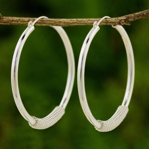 Fair Trade 950 Silver Hoop Earrings 'Loop the Hoop'