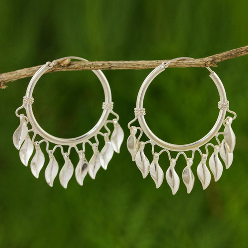 Handcrafted Sterling Silver Hoop Earrings 'Leaves in the Wind'