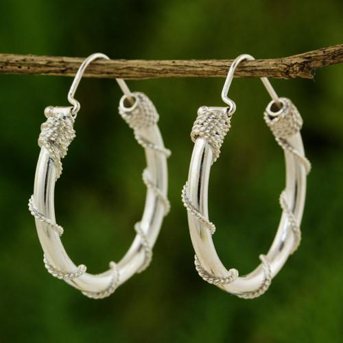 Fair Trade Sterling Silver Hoop Earrings 'Nautical Hoops'