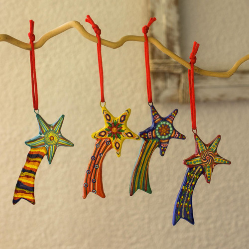 Ceramic ornaments (Set of 6) 'Shooting Stars'
