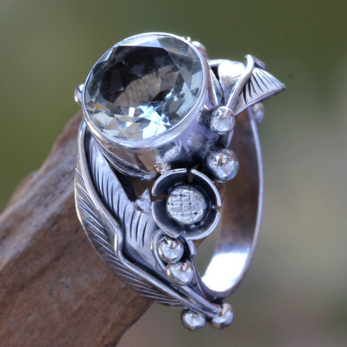 Handcrafted Floral Prasiolite Ring 'Sunflowers'