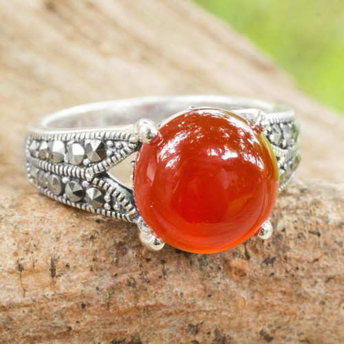Carnelian and Marcasite on Thai Style Sterling Silver Ring 'Marigold'