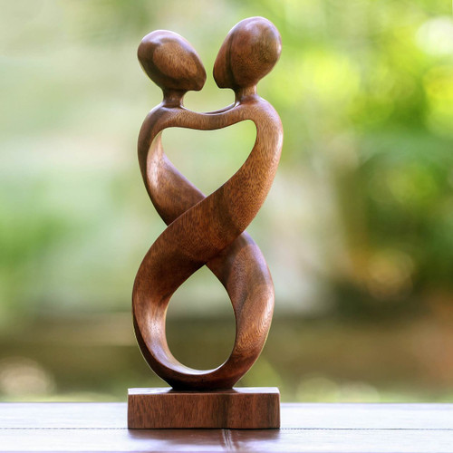Romantic Wood Sculpture 'Heart to Heart'