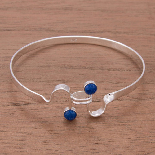 Fair Trade Lapis Lazuli and Silver Bangle Bracelet 'Opposites Attract'