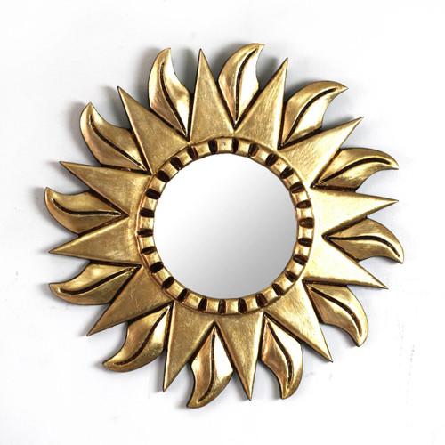 Hand Made Gilded Wood Metallic Mirror 'Sunflower'