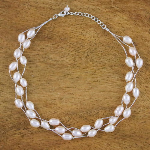 Pearl Choker Necklace Handmade in Thailand 'Charming Rose'