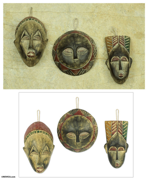 Handcrafted Wood Christmas Ornaments (Set of 3) 'Wise Men'