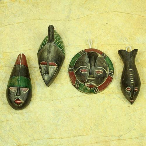 Wood ornaments (Set of 4) 'Shepherds'