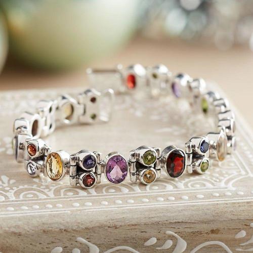 Handmade Multi-gemstone Sterling Silver Link Bracelet 'Sparkle'