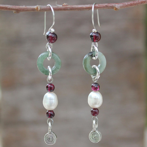 Handcrafted Jade and Pearl Dangle Earrings 'Clouds of Pearl'