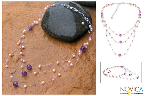 Artisan Crafted Pearl and Amethyst Necklace 'Gossamer Violet'
