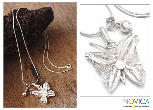 Sterling Silver Filigree Butterfly Necklace 'Wings'