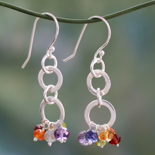 Sterling Silver Earrings Multi Gemstone Chakra Jewelry 'Radiance'