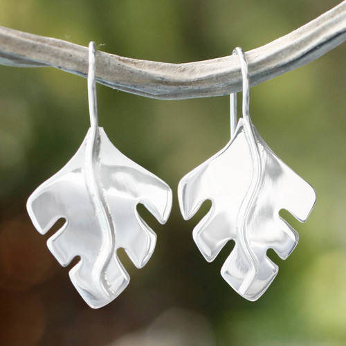 Collectible Taxco Silver Jewelry Drop Earrings 'Falling Leaves'