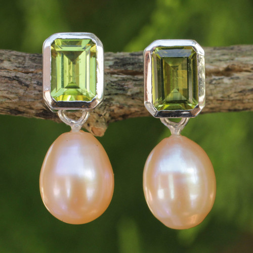 Pearl and Peridot Drop Earrings 'Attraction'