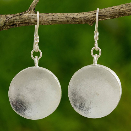 Hand Crafted Silver Dangle Earrings from Thailand 'Full Moon'