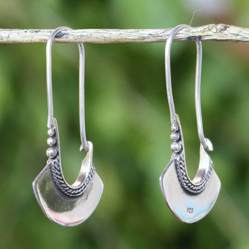 Women's Sterling Silver Hoop Earrings 'Hollow Bell'