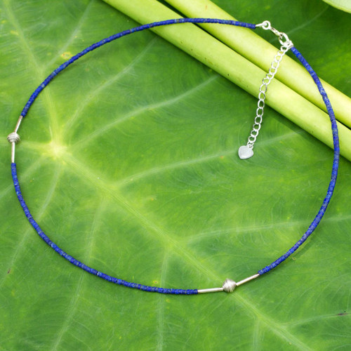 Handcrafted Sterling Silver and Lapis Lazuli Necklace 'A Pure Soul'