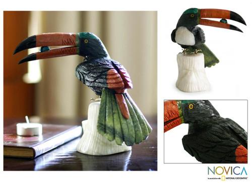 Multicolor Bird Onyx Jasper Gemstone Sculpture 'Toucan Dines'