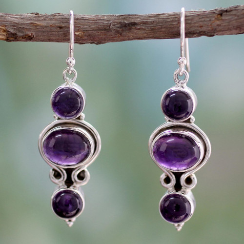 Amethyst and Sterling Silver Earrings from India 'Elegant Fantasy'