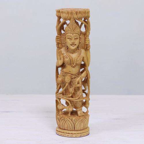 Hinduism Wood Sculpture Artisan Crafted 'Lakshmi Goddess of Prosperity'